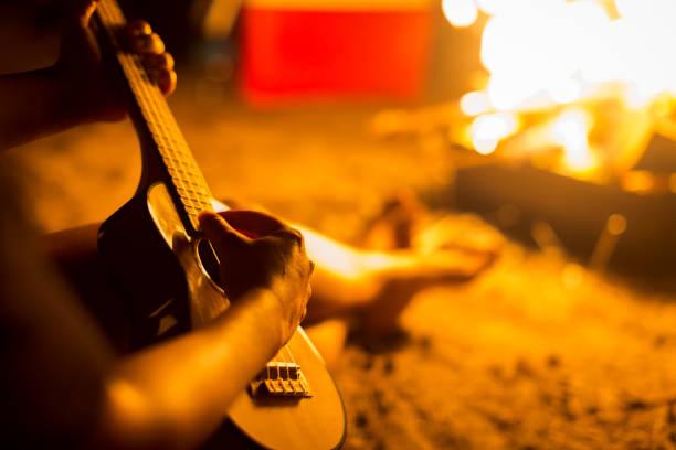 bir kişi bir plajda kamp ateşi yanında otururken rahatlatıcı bir gitar çalmak - reggae stok fotoğraflar ve resimler