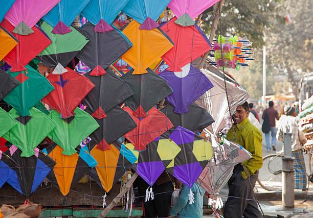 person selling children kite at jaipur india stok fotoğrafı