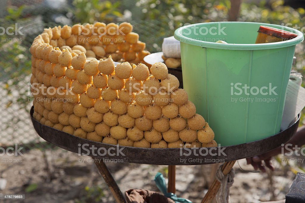 person  selling vegeterian fast food at in new delhi india stock photo