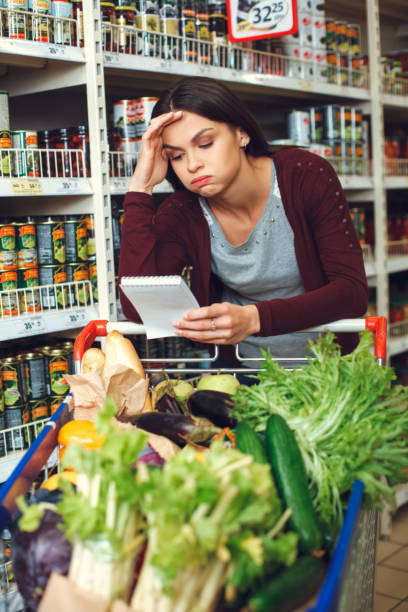 Person shopping at the grocery shop food concept stock photo