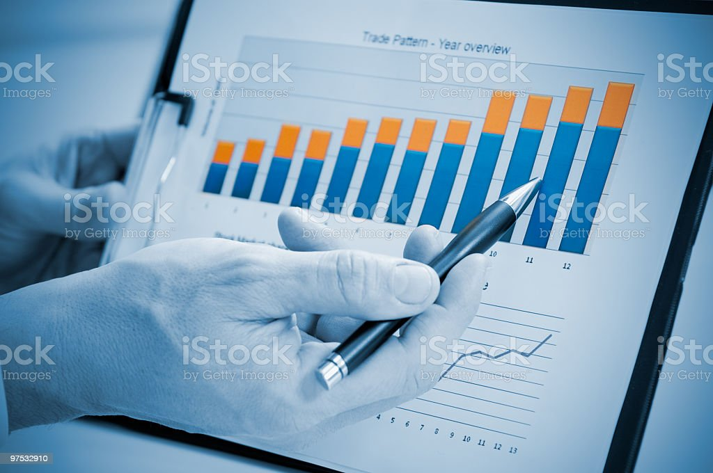 Person showing a good and successful annual report stock photo