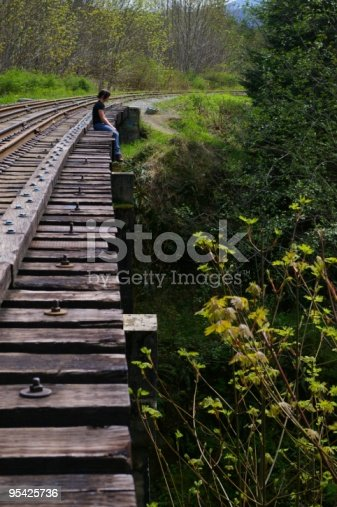 A teen girl sits at the edge of a train bridge, pondering life - considering jumping?