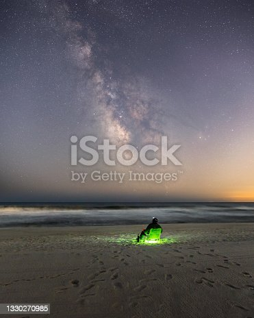 istock A person sitting alone on the beach under the Milky Way stretching across a dark sky. 1330270985