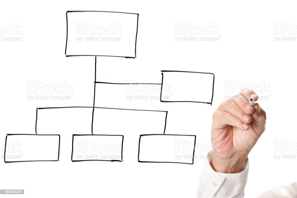 Person sketching a flowchart in glass royalty-free stock photo
