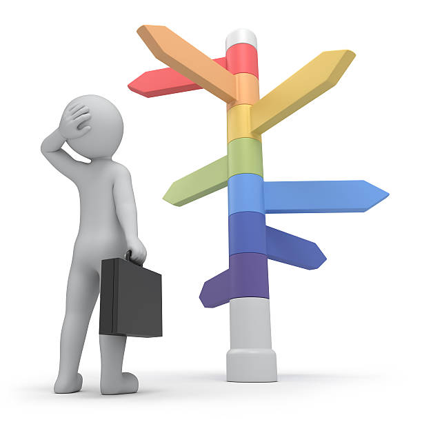 Person staring at colored signpost with many directions it is too much ways, businessman and directions signs. work path anchor athlete stock pictures, royalty-free photos & images
