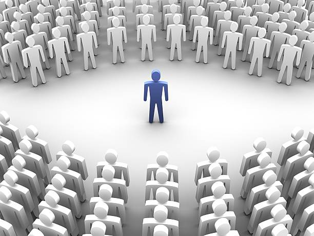 Person surrounded with crowd 3d stock photo