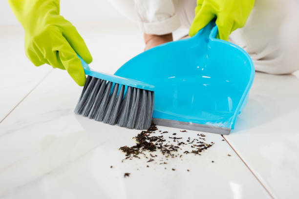person sweeping floor with broom and dustpan - sweeping stock pictures, royalty-free photos & images
