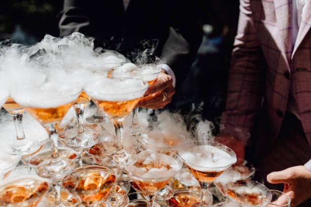 Person Take Smoking Bubble Alcoholic Drink Glasses stock photo