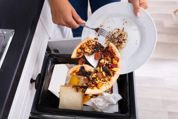 person kastar pepperoni pizza i soptunna - food waste bildbanksfoton och bilder