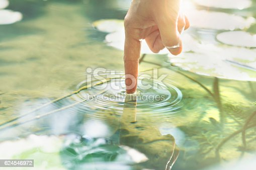 istock person touches the water with his hand 624546972