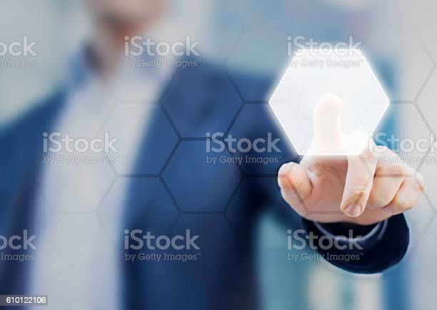 Person touching an hexagonal button on a digital interface picture id610122106?b=1&k=6&m=610122106&s=612x612&h=vkvzi6 cb7ywa2s2thw t5l1yjnllqjbkpilhpmlmqs=