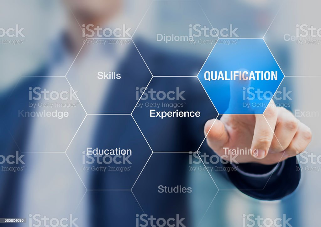 Person touching button qualification, concept about professional certification stock photo