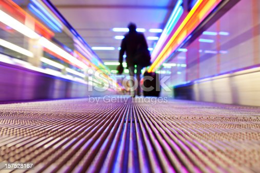 istock Person traveling on flat escalator 157528167