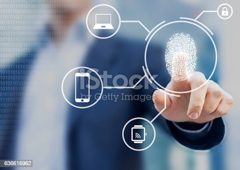istock Person unlocking devices with fingerprint scan using biometrics 636616962