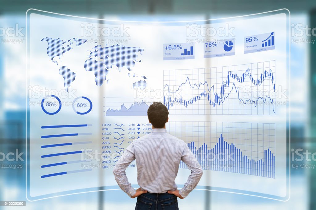 Person using futuristic HUD interface, KPI and BI, technology, data stock photo
