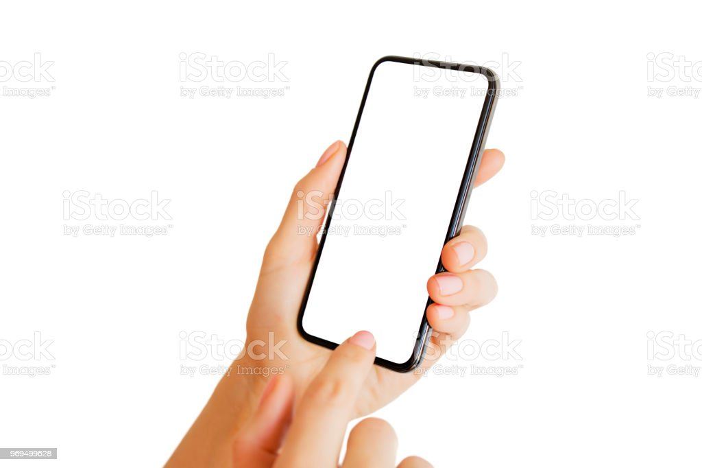 Person using phone with empty white screen. Mobile app mockup. stock photo