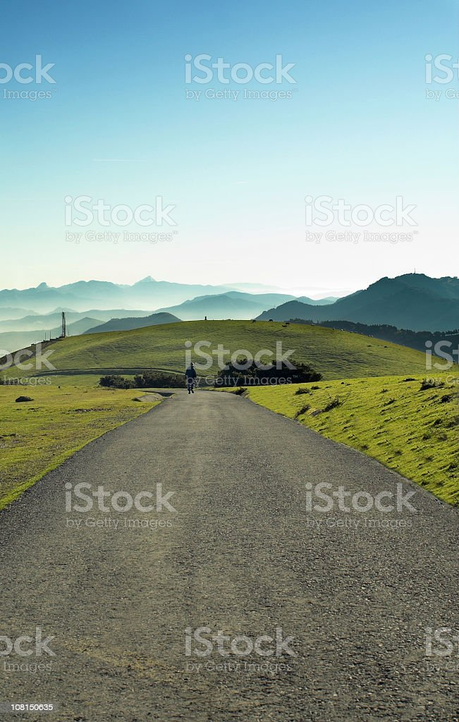 Person Walking Down Road Beside Green Fields and Blue Sky royalty-free stock photo
