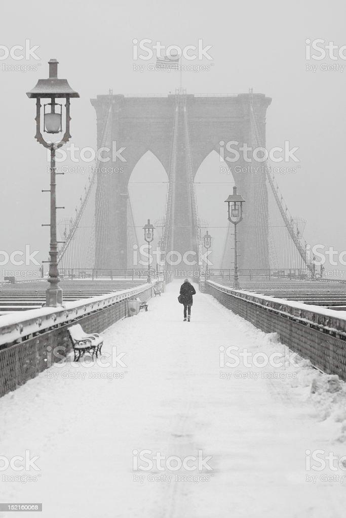 Person Walking on Brooklyn Bridge royalty-free stock photo