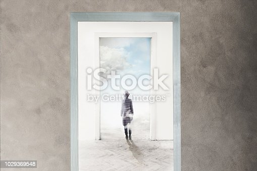 person walking towards freedom