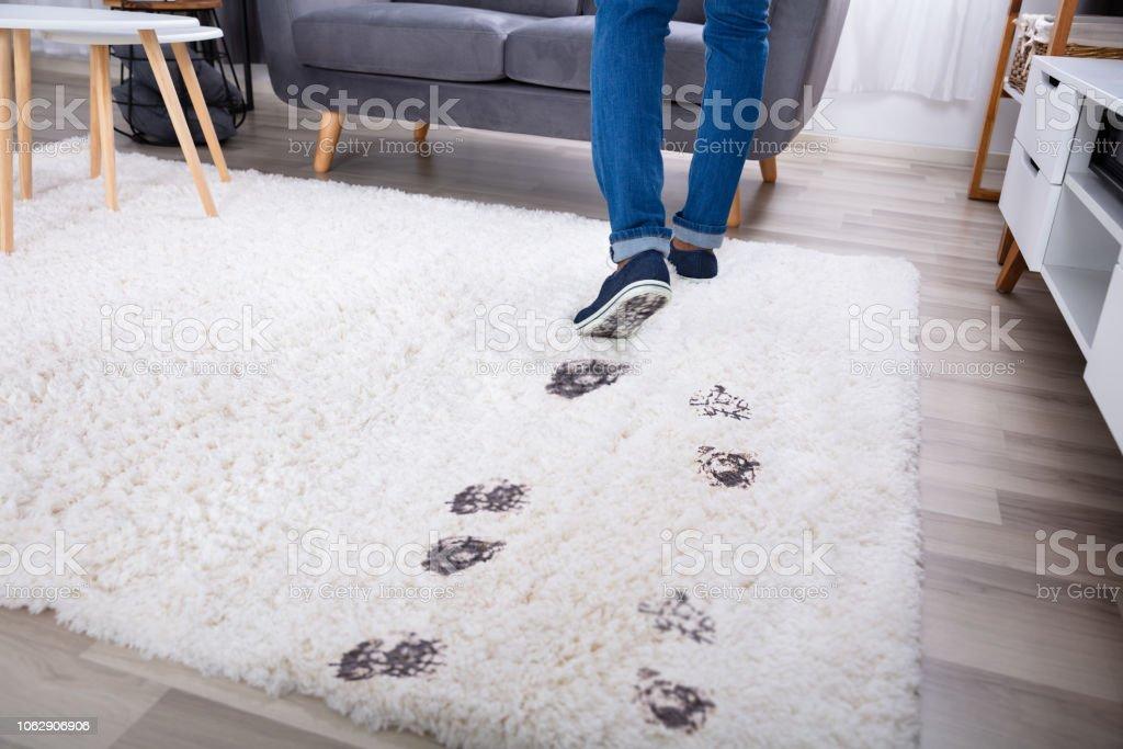 Çamurlu ayak izi ile halı üzerinde yürüyen kişi - Royalty-free Almanya Stok görsel
