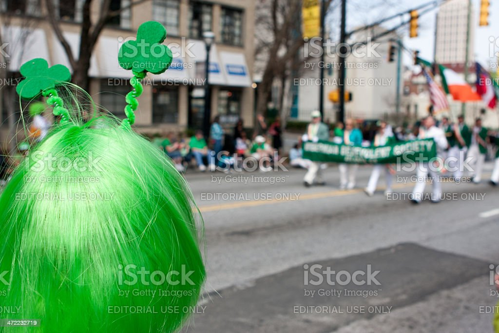 Person Wearing Green Wig Watches St. Patrick's Parade stock photo