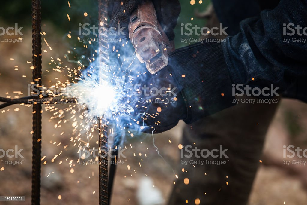 Person Welding Metal Rods stock photo