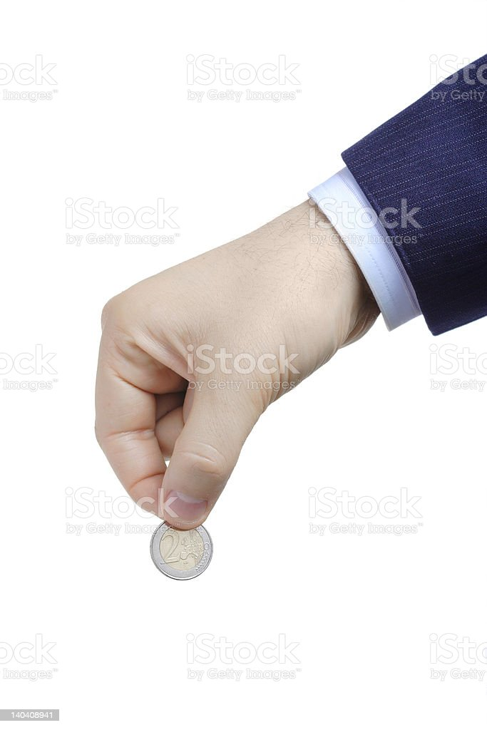Person with a coin in his hand royalty-free stock photo