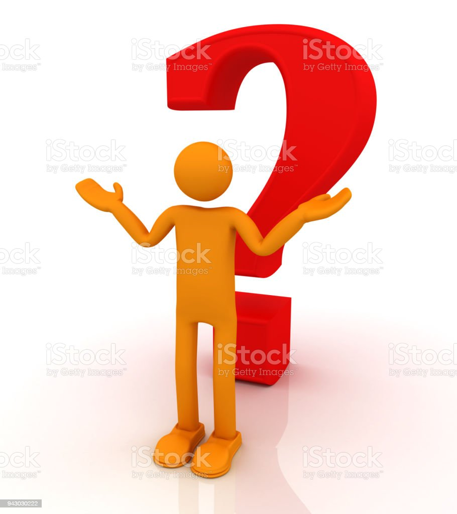 Person with a question mark stock photo