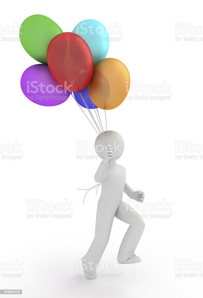 Person with balloons. royalty free stockfoto