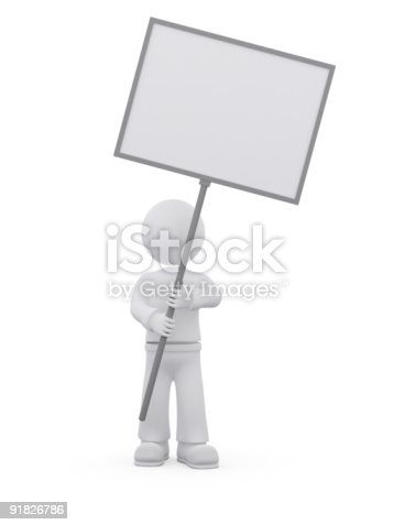istock Person with blank message sign. 91826786
