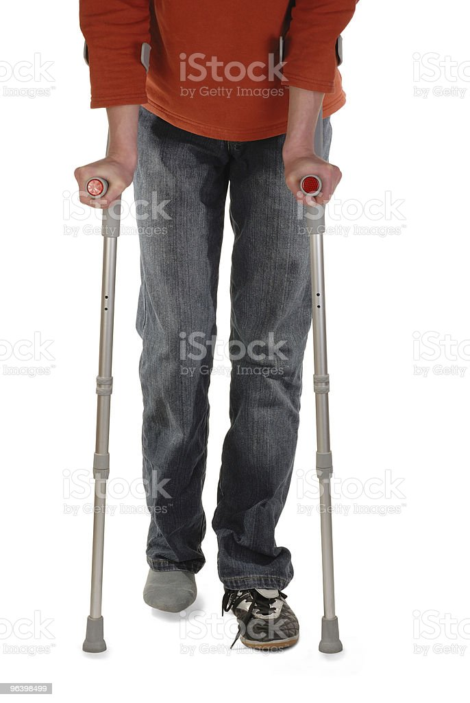 Person with Crutches - Royalty-free Adult Stock Photo