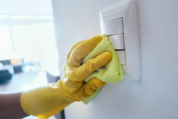 Person With Gloves Disinfecting Light Switches Using Sanitizer stock photo