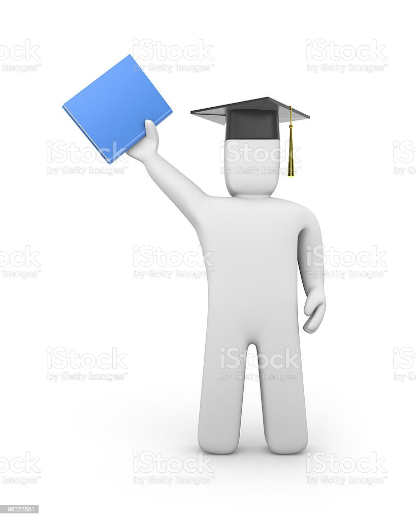 Person with graduation cap and book royalty-free stock photo