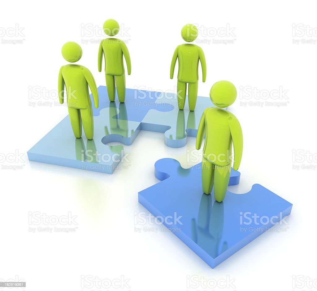 3D person with Jigsaw Puzzle royalty-free stock photo