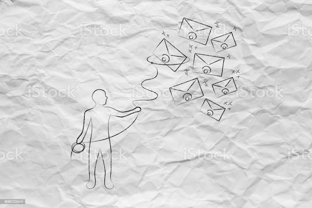 person with lasso catching envelopes, email & communication concept stock photo