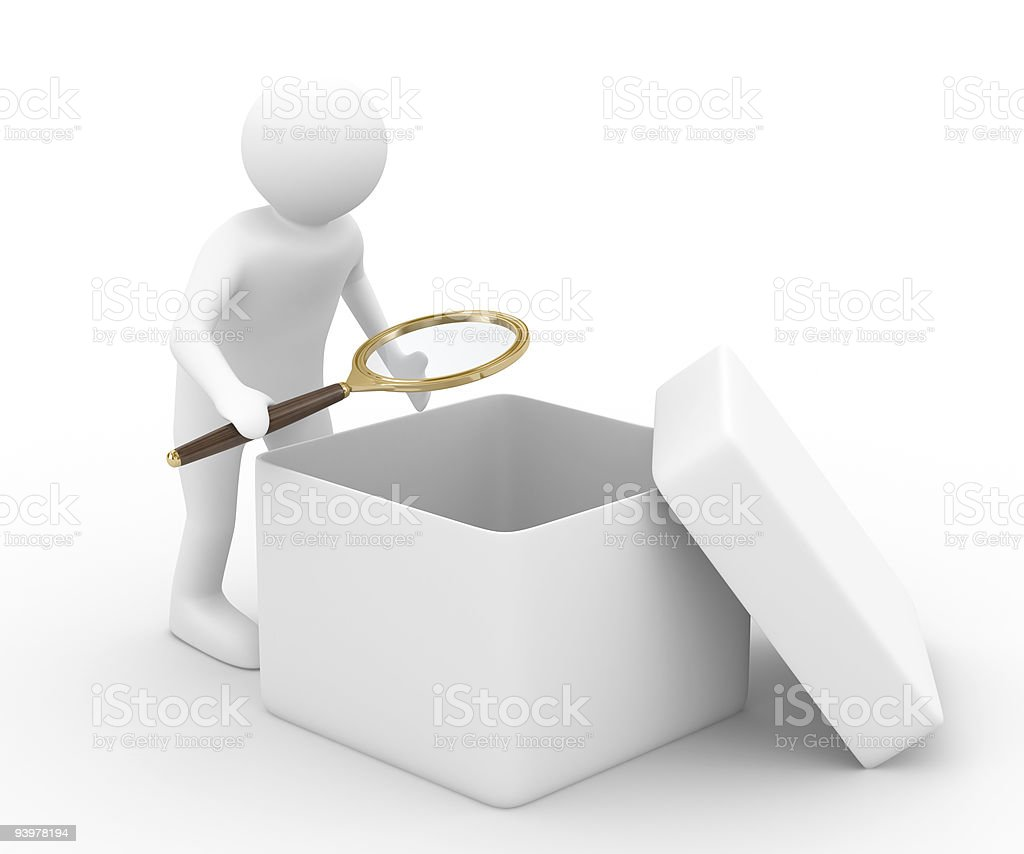 person with magnifier investigates empty box. Isolated 3D image royalty-free stock photo