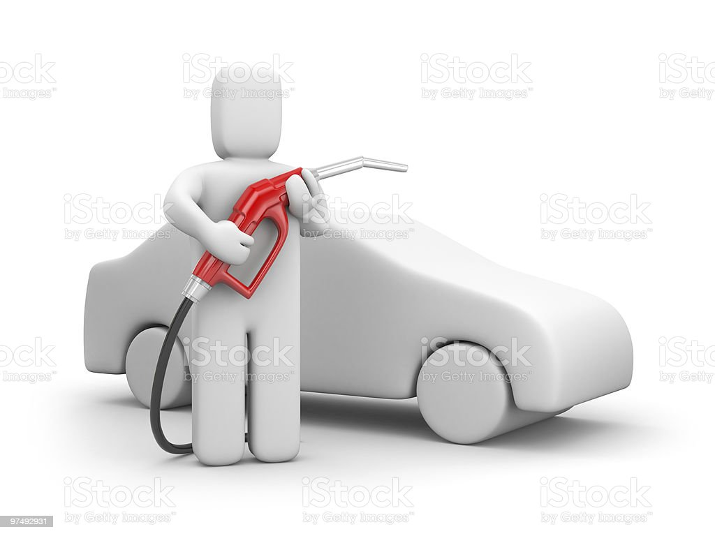 Person with petrol pump royalty-free stock photo