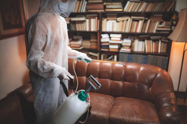 Person mit schützender antiviraler Maske, chemische Dekontamination Sprayer Flasche desinfizieren Haushalt und Möbel. – Foto