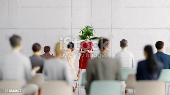 A shy presenter in front of the audience, all objects in the scene are 3D