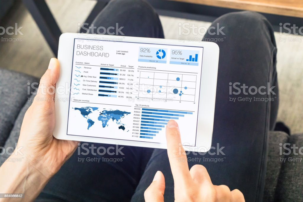 Person working on business analytics or intelligence dashboard, digital tablet stock photo