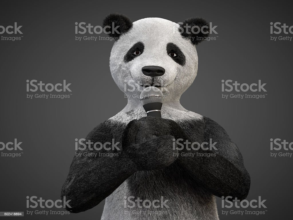 Personage character animal bear panda sing song microphone stock photo
