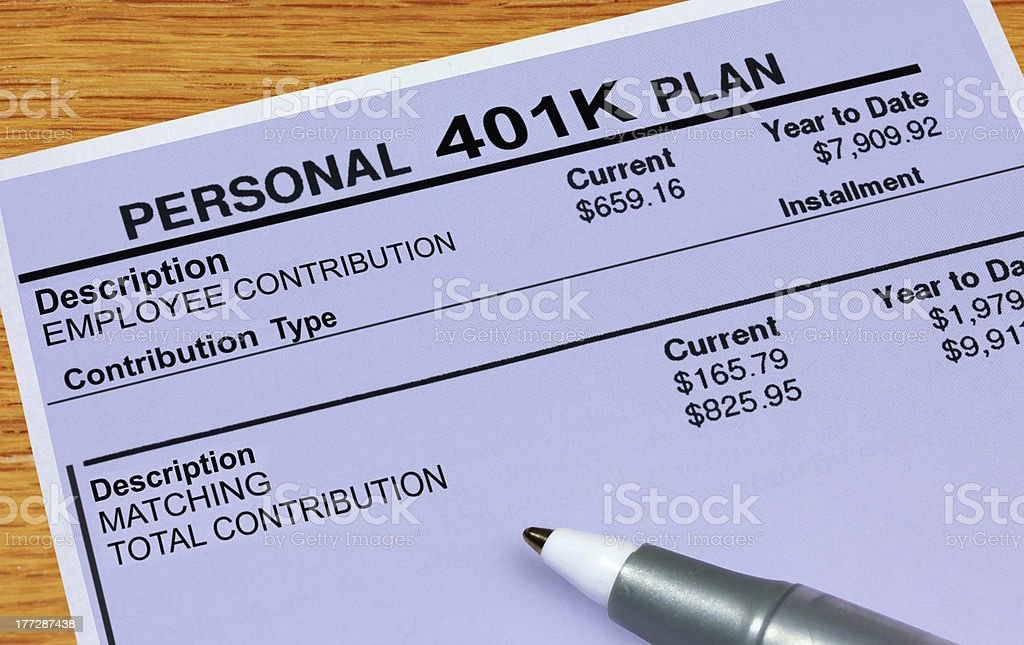 Personal 401K Plan Statement stock photo