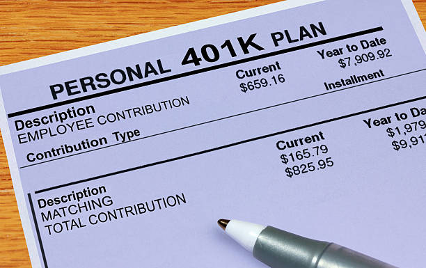 Personal 401K Plan Statement A statement showing 401K plan financials. 401k stock pictures, royalty-free photos & images