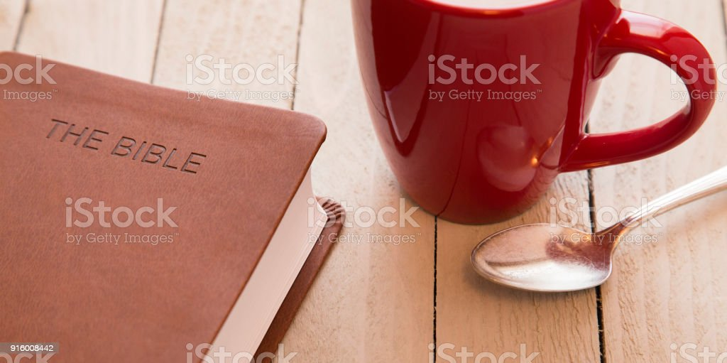 Personal Bible Study with a Cup of Coffee stock photo