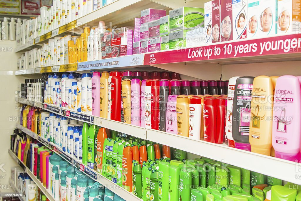 Personal care products in Bangalore supermarket, India stock photo