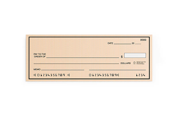 personal check with altered numbers isolated on white - cheque bancaire vierge photos et images de collection