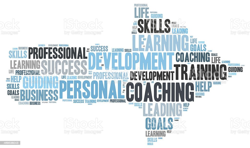 Personal coaching word cloud stock photo