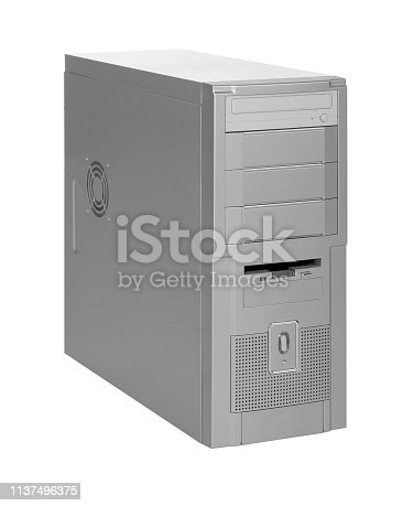 old fashioned personal computer isolated in white back
