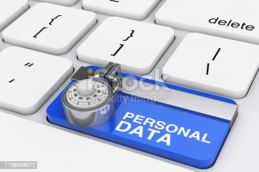 istock Personal Data Protection Concept. Padlock over Computer Keyboard with Blue Locked Personal Data Key. 3d Rendering 1138658072
