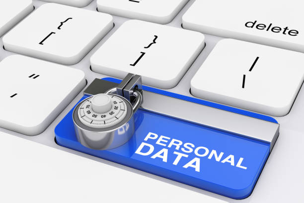 Personal Data Protection Concept. Padlock over Computer Keyboard with Blue Locked Personal Data Key. 3d Rendering Personal Data Protection Concept. Padlock over Computer Keyboard with Blue Locked Personal Data Key extreme closeup. 3d Rendering identity theft stock pictures, royalty-free photos & images